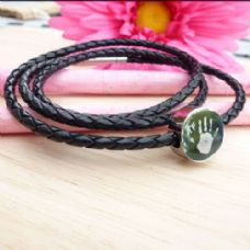 Triple Leather Bracelet with Engraved Handprint Charm